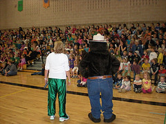 Coach Stacy and Smokey at school